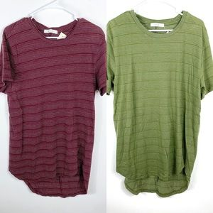 MNML LA rounded Bottom Scallop Tee Shirt Lot of 2